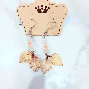 Peach Plastic Leaf Earrings